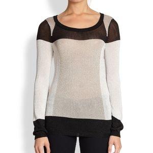 Aiko Silky Metallic Knit Color-Block Sweater